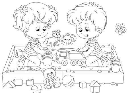 Happy small children friendly smiling, romping and playing with their funny toys in a sandbox on a playground in a summer park, black and white vector cartoon illustration for a coloring book page Illustration