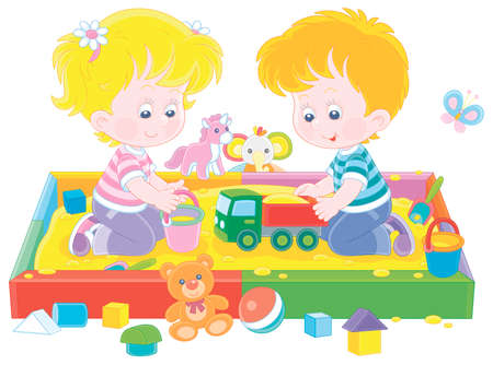 Happy small children friendly smiling, romping and playing with their colorful toys in a sandbox on a playground in a summer park, vector cartoon illustration Illustration
