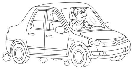 Friendly smiling young man driving his new beautiful car, black and white vector cartoon illustration for a coloring book page