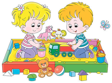 Happy small children friendly smiling, romping and playing with their colorful toys in a sandbox on a playground in a summer park, vector cartoon illustration Иллюстрация