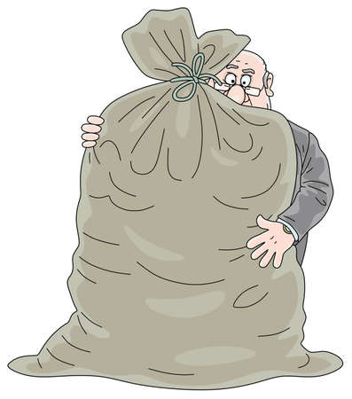 Fat corrupt official hugging a big bag full of money, vector cartoon illustration on a white background Çizim