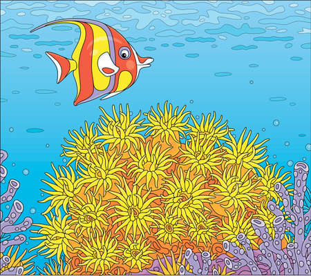 Funny striped butterfly fish swimming over bright colorful corals in blue water of an amazing reef in a tropical southern sea, vector cartoon illustration Illustration