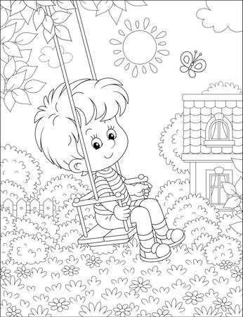 Cheerful small boy swinging with a merry flittering butterfly in a pretty yard of a summer house in a village on a sunny warm day, black and white vector cartoon illustration for a coloring book