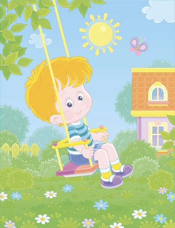 Cheerful small boy swinging with a merry flittering butterfly in a pretty green yard of a summer house in a village on a sunny warm day, vector cartoon illustration
