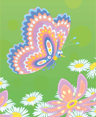 Ornate colorful and bright butterfly flying over beautiful wildflowers on a green summer field, vector cartoon illustration