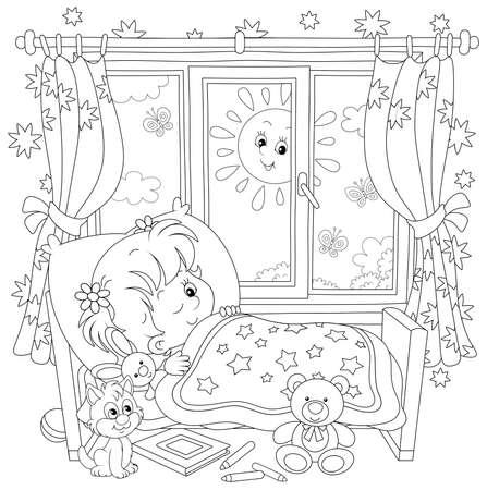 Niña amigable sonriendo y despertando en su pequeña cama en una sala de guardería con juguetes en una brillante mañana soleada, ilustración de dibujos animados de vector de contorno blanco y negro para una página de libro para colorear