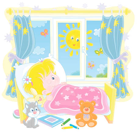 Little girl friendly smiling and waking up in her small bed in a nursery room with toys on a bright sunny morning, vector cartoon illustration on a white background