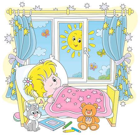 Niña amigable sonriendo y despertando en su pequeña cama en una sala de guardería con juguetes en una brillante mañana soleada, ilustración de dibujos animados de vector sobre un fondo blanco Ilustración de vector