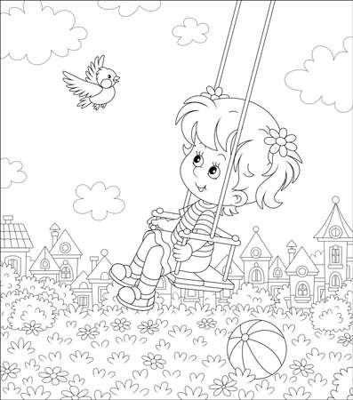 Cheerful little girl swinging with a merry flying birdie on a playground in a summer park of a small pretty town on a sunny warm day, black and white cartoon illustration for a coloring book