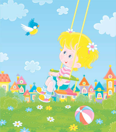 Cheerful little girl swinging with a merry flying birdie on a green playground in a summer park of a small colorful town on a sunny warm day, cartoon illustration