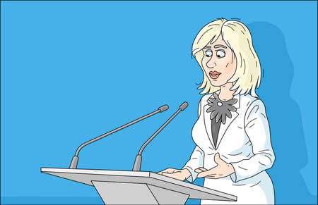 Government official making an official statement at a press conference, cartoon illustration