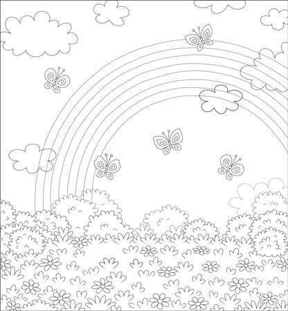 Bright rainbow in the sky and cheerful butterflies flittering over a field with beautiful flowers on a pretty summer day after warm rain, black and white vector cartoon illustration Çizim