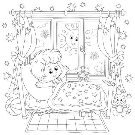 Little boy friendly smiling, waking up and stretching himself after sleep in his small bed in a nursery room with funny toys on a bright sunny morning, black and white vector cartoon illustration Vectores