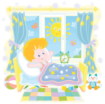Little boy friendly smiling, waking up and stretching himself after sleep in his small bed in a nursery room with colorful toys on a bright sunny morning, isolated vector cartoon illustration
