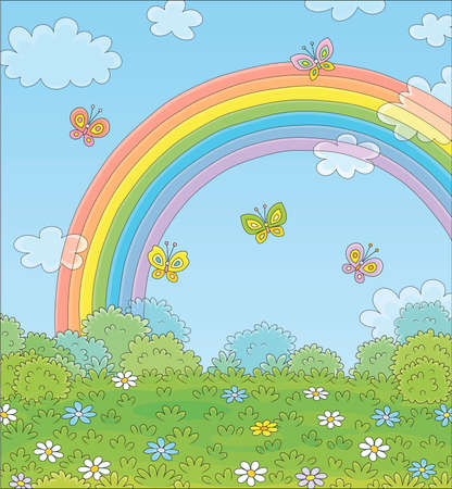 Colorful rainbow in the blue sky with small clouds and cheerful butterflies flittering over a green field with beautiful flowers on a pretty summer day after warm rain, vector cartoon illustration