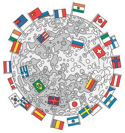 Division of the Moon, the satellite of the Earth divided between different countries and marked with their flags, vector cartoon illustration isolated on a white background Illustration