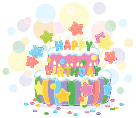 Fancy colorful and sweet birthday cake decorated with color letters candles, vector cartoon illustration isolated on a white background