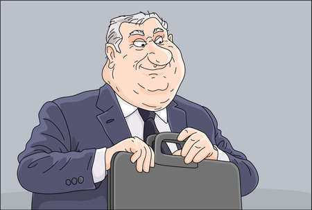 Fat corrupt official sitting at his office desk, insidiously smiling and holding a leather briefcase with documents and money for bribe, vector cartoon illustration Çizim