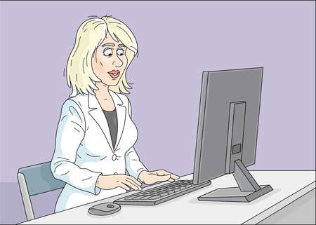 Successful young businesswoman in white business suit, in an office, at a desk, working at a desktop computer, vector cartoon illustration