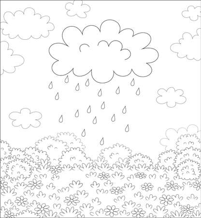 Funny plump rain cloud with dripping raindrops over a field with beautiful flowers on a pretty summer rainy day, black and white vector cartoon illustration for a coloring book page Illustration