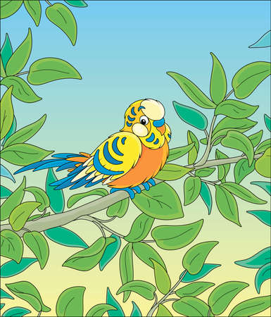 Amusing colorful parrot, long-tailed and with brightly colored plumage, perched on a green tree branch in a wild tropical jungle, vector cartoon illustration