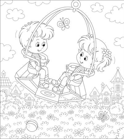 Cheerful little children swinging on a summer playground in a park of a small pretty town on a warm sunny day, black and white outline vector cartoon illustration for a coloring book page
