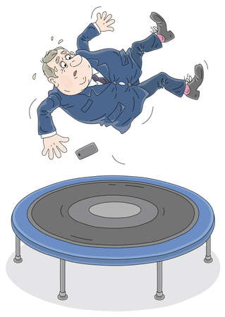 Fat active government official funny jumping on a sport trampoline, vector cartoon illustration isolated on a white background Illustration
