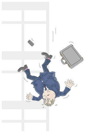 Business failure, an insolvent businessman with his briefcase falling down from a window of an office building, vector cartoon illustration isolated on a white background Çizim