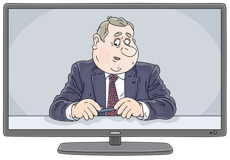 Newscast with a presenter on TV, vector cartoon illustration on a white background