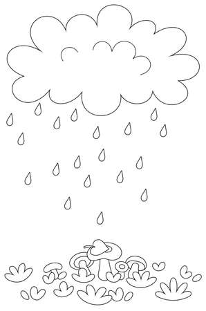 Funny plump rain cloud with dripping raindrops pouring mushrooms on a forest glade on a rainy summer day, black and white vector cartoon illustration for a coloring book page