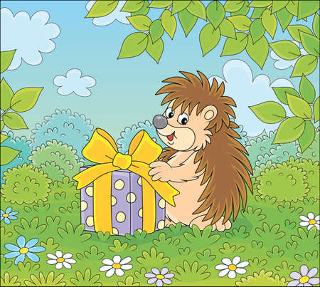 Joyful and friendly smiling little hedgehog holding a beautiful box with a holiday gift on a pretty glade of a green forest on a warm summer day, vector cartoon illustration