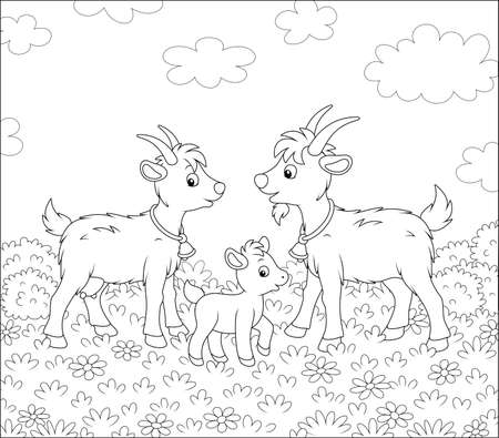 Small kid with a nanny goat and a he-goat walking on fresh grass of a pretty summer field with wildflowers on a wonderful warm day, black and white outline vector cartoon illustration Ilustración de vector