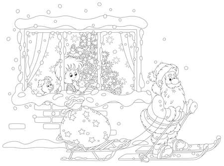 The night before Christmas, a little boy looking through a window at Santa Claus skiing with a sledge and his big bag of holiday gifts, black and white outline vector cartoon illustration