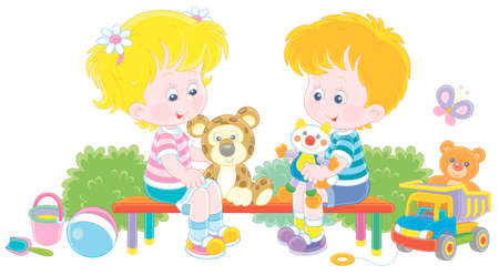 Cheerful small children sitting on a bench, talking and playing with their funny colorful toys on a summer playground in a park, vector cartoon illustration on a white background