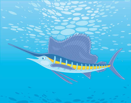 Large marine swordfish swimming in blue water of a deep tropical sea, vector cartoon illustration