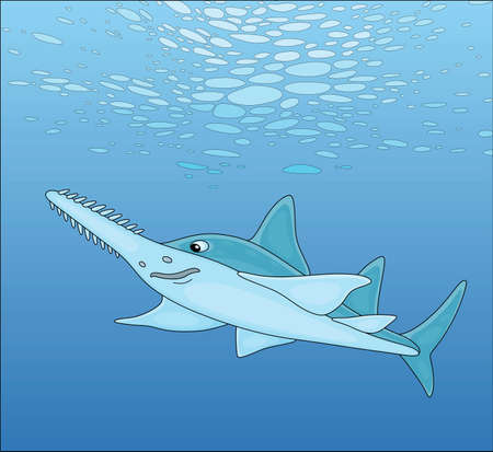 Large sinister marine largetooth sawfish swimming in blue water of a tropical sea, vector cartoon illustration 向量圖像
