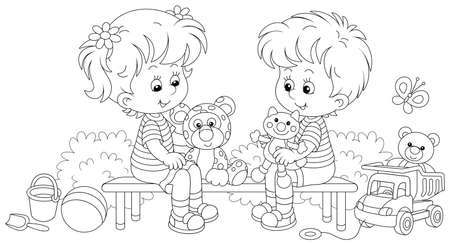 Cheerful small children sitting on a bench, talking and playing with their funny toys on a summer playground in a park, black and white outline vector cartoon illustration for a coloring book page