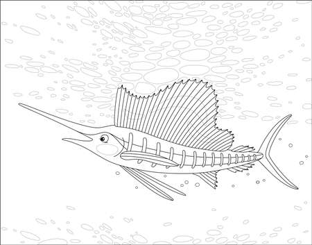Large marine swordfish swimming in a deep tropical sea, black and white outline vector cartoon illustration for a coloring book page 向量圖像