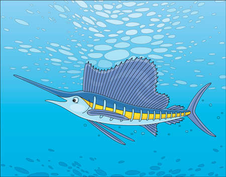 Large marine swordfish swimming in blue water of a deep tropical sea, vector cartoon illustration Stock Illustratie
