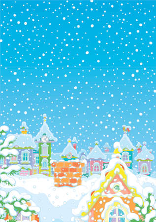 Winter background with a bricky chimney on a snow-covered rooftop of an old house in a small colorful town on a snowy night before Christmas, vector cartoon illustration  イラスト・ベクター素材