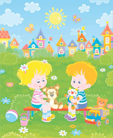 Cheerful small children sitting on a bench, talking and playing with their funny colorful toys on a summer playground in a park on a sunny day, vector cartoon illustration 矢量图像