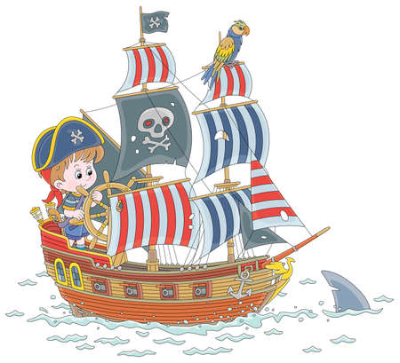 Little boy with a cocked sailor hat and a toy filibuster pistol playing a sea pirate with an old wooden ship steering helm and a funny parrot perched on a mast of a sailboat cartoon