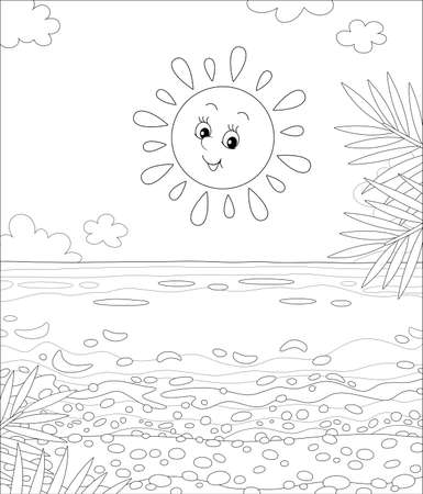 Friendly smiling sun shining a sandy beach with palm branches on a beautiful island in a tropical sea on a summer day, black and white cartoon illustration for a coloring book page