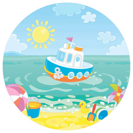 Beautiful small toy motorboat floating in blue sea water near a tropical sandy beach of a seaside resort on a sunny summer day, cartoon illustration Illustration