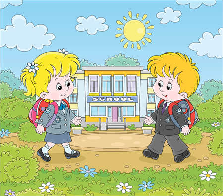 Happily smiling schoolchildren in uniform with schoolbags going to their school for classes, cartoon illustration