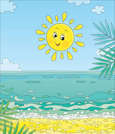 Friendly smiling yellow sun shining over blue water of a golden sandy beach with palm branches on a beautiful island in a tropical sea on a summer day, cartoon illustration Illustration