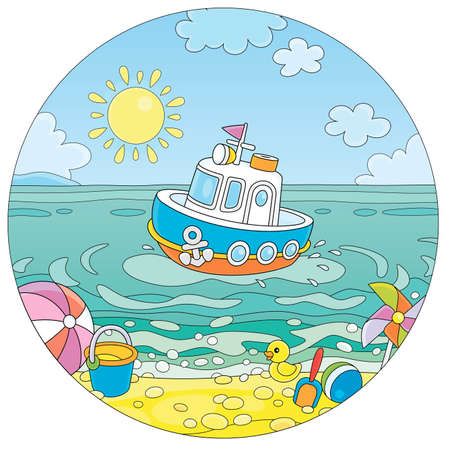 Beautiful small toy motorboat floating in blue sea water near a tropical sandy beach of a seaside resort on a sunny summer day, black and white outline cartoon illustration
