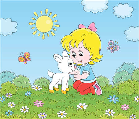 Happy little girl playing with a small white kid among wildflowers on green grass of a summer field on a sunny day, vector cartoon illustration Illustration