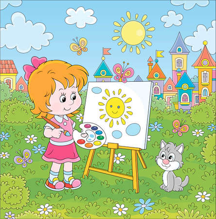 Cute happily smiling little girl drawing the sun and clouds with paints on her easel in a green summer park of a pretty small town on a wonderful sunny day, vector cartoon illustration