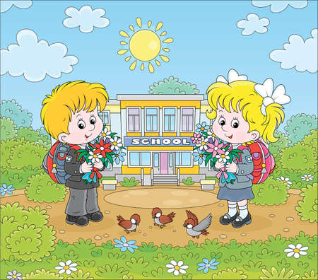 Happy schoolchildren with colorful bouquets of flowers and schoolbags standing in front of their school on a sunny day on the first of September, cartoon illustration Illustration